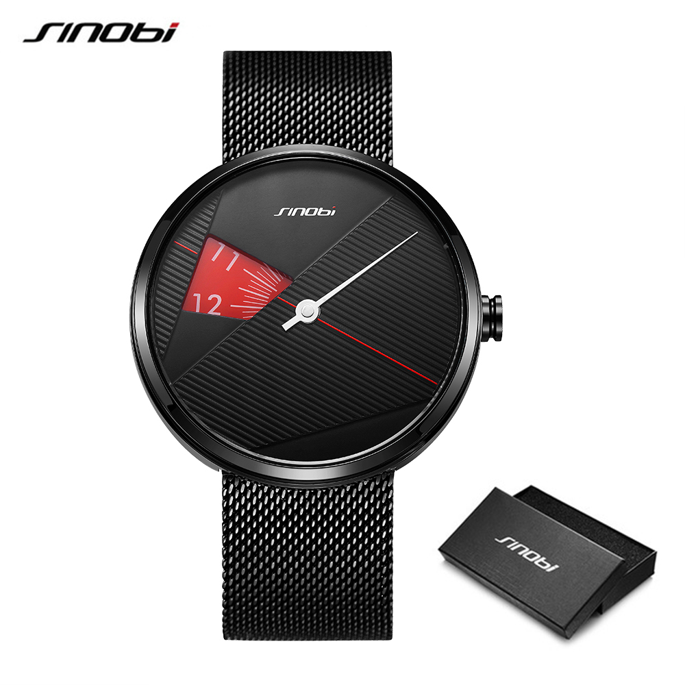 SINOBI 2019 Original Irregular Creative Men Watch Milan Strap Wristwatches Men rotate dial plate watches Sports watch Drop ship 5