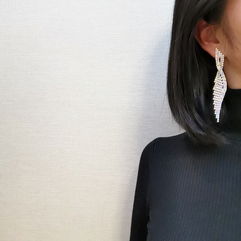 2020 Luxury Bling Colorful Crystal Rhinestone Long Tassel Earrings For Women Bridal Big Drop Dangle Earrings Wedding Jewelry