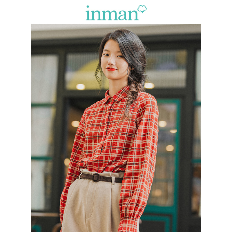INMAN Winter Literary Turn Down Collar Elastic Lace Sleeve Plaid Loose Long Sleeve Women Blouse