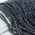 Натуральные темные сапфировые граненые круглые бусины 3 мм/4 мм