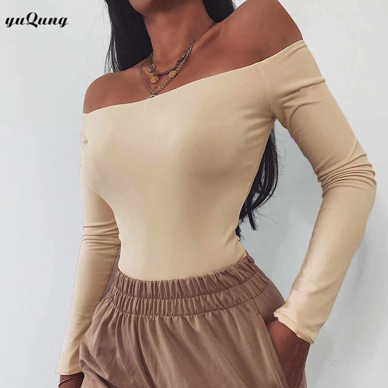Yuqung slash neck сексуальный костюм в обтяжку 2019 осенний женский комбинезон с длинным рукавом и открытыми плечами Повседневный женский комбинезон топы