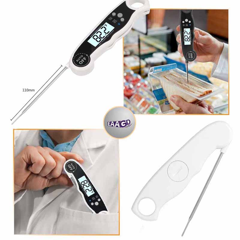 EAAGD Waterproof and Instant Read Food Thermometer with Calibration and Backlight Functions including Long Folding Probe 5