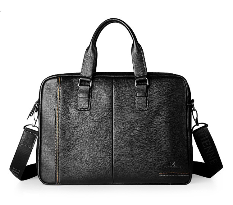 New Fashion Genuine Leather Famous Brand Men Briefcase, 15.6 Inch Commercial Laptop Briefcase, Cross-body Shoulder Bag