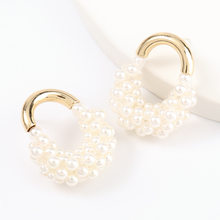Fashion Metal Imitation Pearl Lock Earrings Women's Creative Popular Dangle Earrings Cute Jewelry Accessories