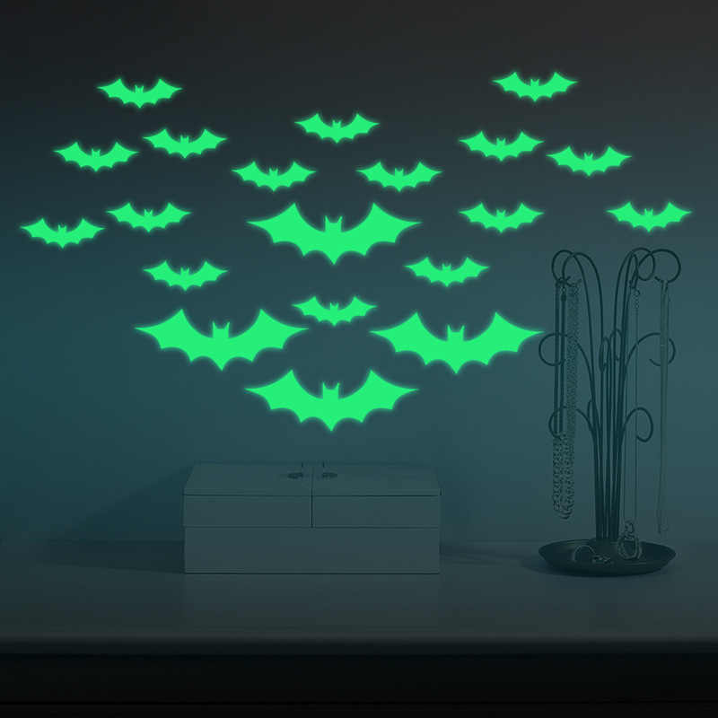 Halloween Luminous Wall Sticker Stickers PVC Bat witch mask ghost Stranger Things Poster Art Decal Removable Home Party Decor