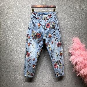 Женские джинсы с цветочным принтом размера плюс на весну и осень 2020, свободные штаны-шаровары с высокой талией, модные женские джинсы