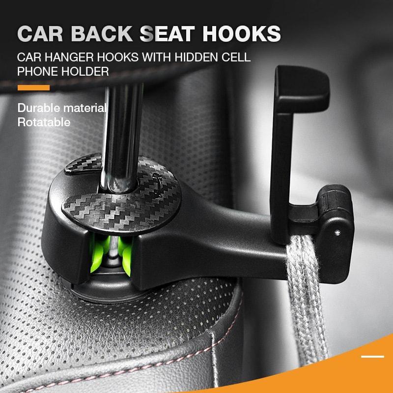 Back Hook 2 in 1 Car Headrest Hook with Phone Holder Seat Back Hanger for Bag Handbag Purse Grocery Cloth Foldble Clips Organiz 1