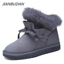 JIANBUDAN Winter warm snow boots woman 2020 new Casual plush cotton shoes Female fashion Rabbit hair Plush size 35-40