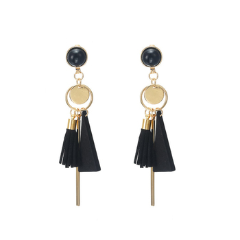 Personality Fashion triangle geometric wood earrings Retro female tassel long women earrings Jewelry