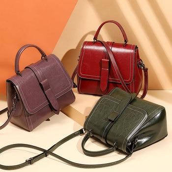 Genuine Leather Luxury Handbag Women Bags Brand Designer Ladies Vintage Hand Bag Women Shoulder Bag Tote Bags For Women 2020
