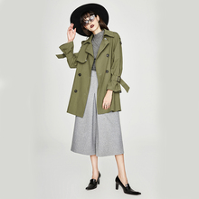 Short womens windbreaker jacket Spring and autumn fashion slim double-breasted loose short section women