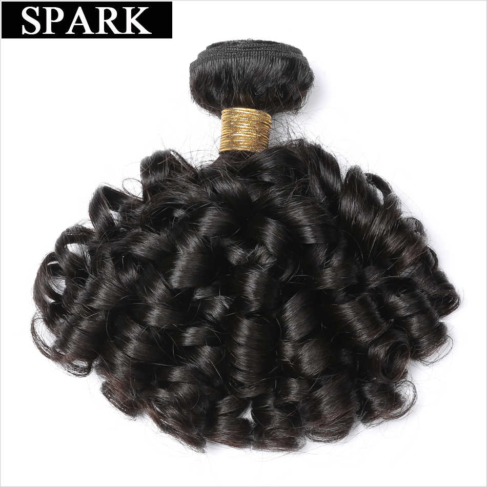 Spark Brazilian Human Hair Loose Bouncy Curly Hair Human Hair Extension 8~26inch Remy Hair Natural Black Color For Woman