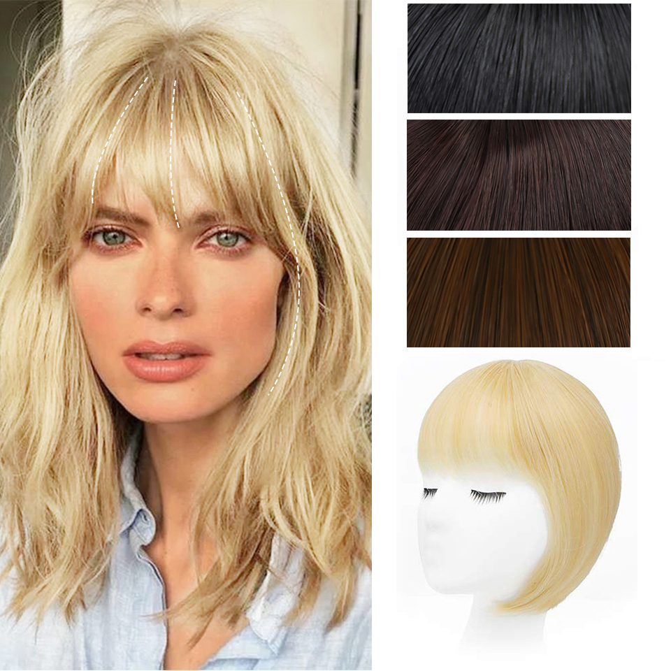 Isaic Synthetic 3D Bang Hair Piece Clip In Hair Extension Fake Fringes Bang Women Natural French Bangs Clip on Bangs