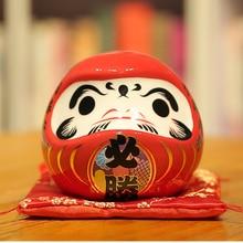 4 Polegada japonês daruma cerâmica maneki neko mascote poupança pote dharma boa sorte zen estátua caixa de dinheiro moeda banco ornamento