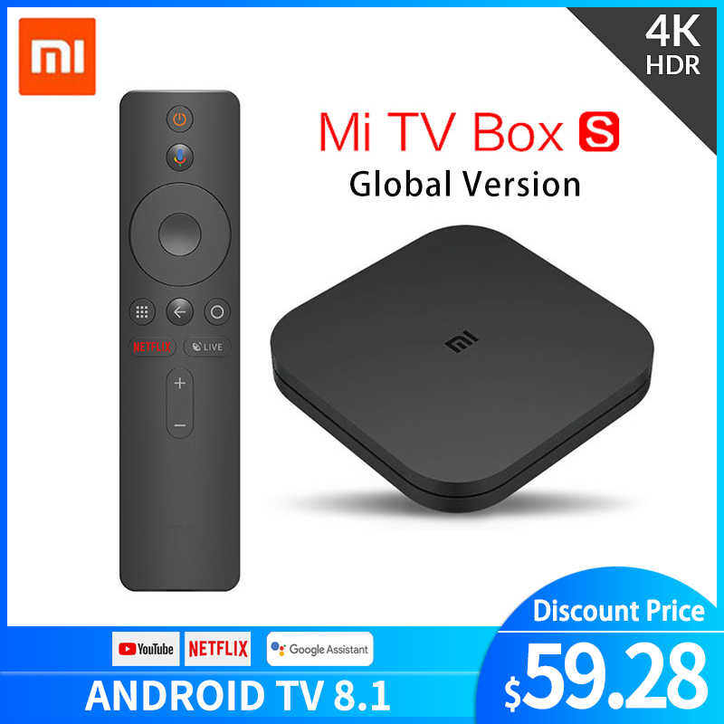 Xiaomi mi TV Box S 4K HDR Android TV 8,1 Ultra HD 2G 8G WIFI google Cast Netflix IPTV Set top Box 4 reproductor de medios versión global