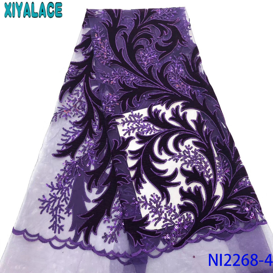 French Tulle Lace Fabric 2019 High Quality Lace,Hot Sale Velvet Fabric Lace With Sequins For Women Dresses KSNI2268-4