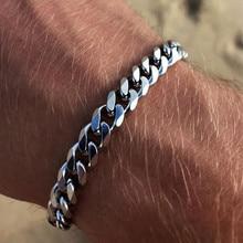 2020 neue Trendy Kubanischen Kette Männer Armband Klassische Edelstahl 3/5/7mm Breite Kette Armband Für männer Frauen Schmuck Geschenk