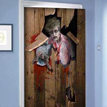 New Frightening 3D Door Sticker DIY Festive Party Decoration Halloween Zombie Breaks Unique  Horror PVC