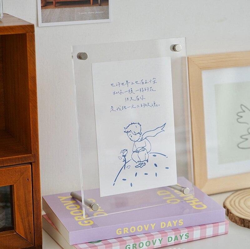 fotos mesa acrílico photocard display cartão dormitório dec escola papelaria