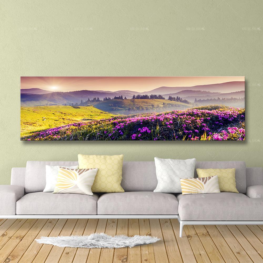 Настенное художественное полотно HD печать картина цветы горы лес Красивая Гора картина восход солнца пейзаж плакаты спальня домашний деко...