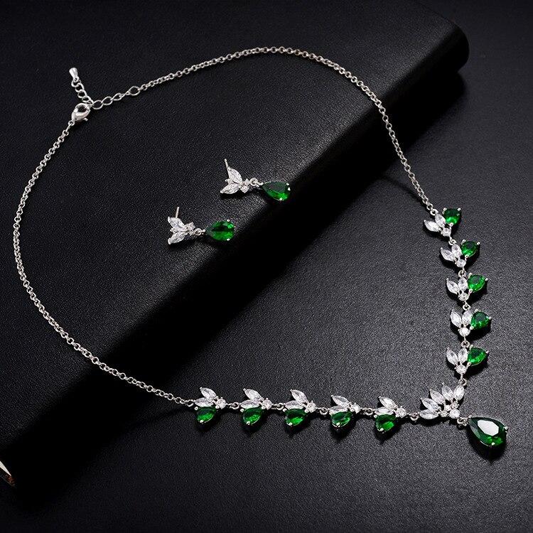 Ensembles de bijoux de dames de mariage de mode de goutte d'eau pour les femmes plein Pave cristal Zircon boucles d'oreilles colliers ensemble bijoux - 4
