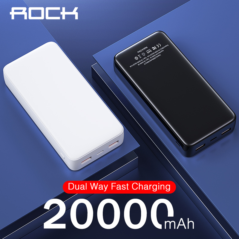 Rock 20000mAh Power Bank PD USB C Fast Charging Powerbank For IPhone 11 Samsung Huawei Type C Portable Charger External Battery