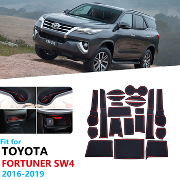 Anti-Slip Rubber Gate Slot Cup Mat for Toyota Fortuner SW4 2016~2019 Accessories Car Stickers Door Groove Mat Cushion 2017 2018 image