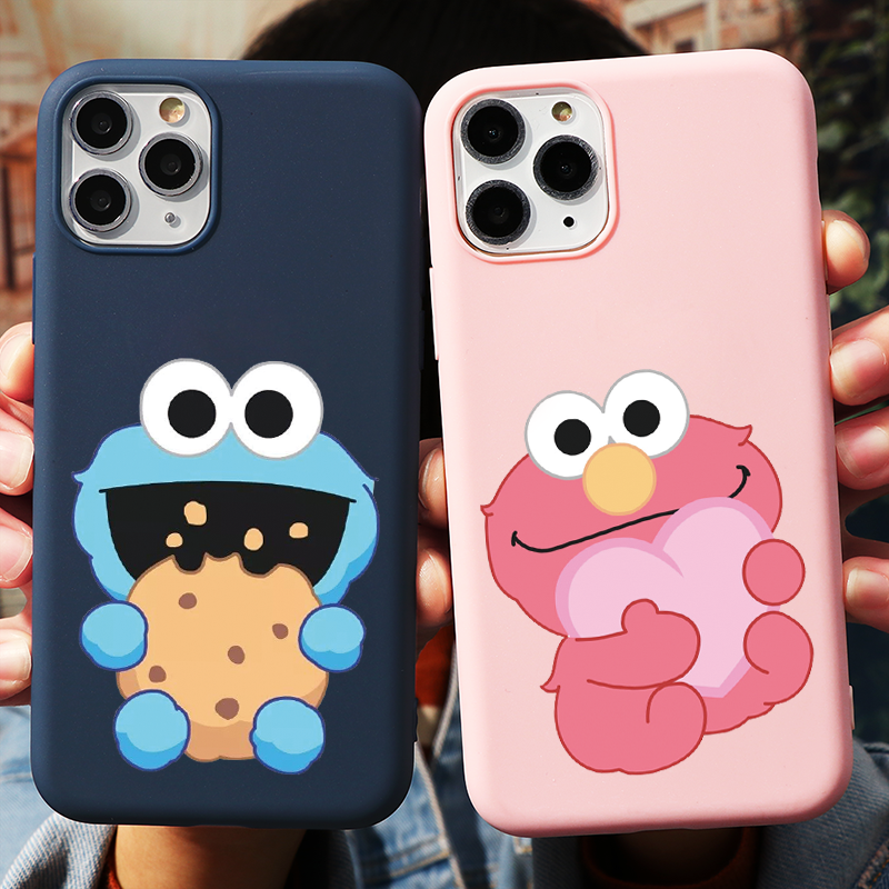 Cartoon Cute Sesame Cookie Monster Phone Cases For Iphone 6 6S 7 8 Plus X XR XS Max SE2 TPU For Iphone 11 12 Pro Max 5 5S Cover