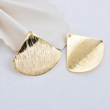 10 PCS 29 *26,5 MM 24K Gold Color Brass Dried Arc Surface Sector Charms High Quality Diy Jewelry Accessories