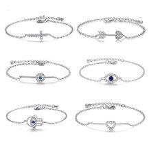 Erluer Fashion Link Chain Armband Voor Vrouwen Meisje Cz Crystal Heart Arrow Infinity Charm Sieraden Huwelijkscadeau Armbanden цена