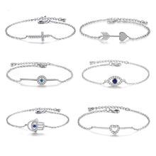 Fashion Link Chain Armband Voor Vrouwen Meisje Cz Crystal Heart Arrow Infinity Charm Sieraden Huwelijkscadeau Armbanden