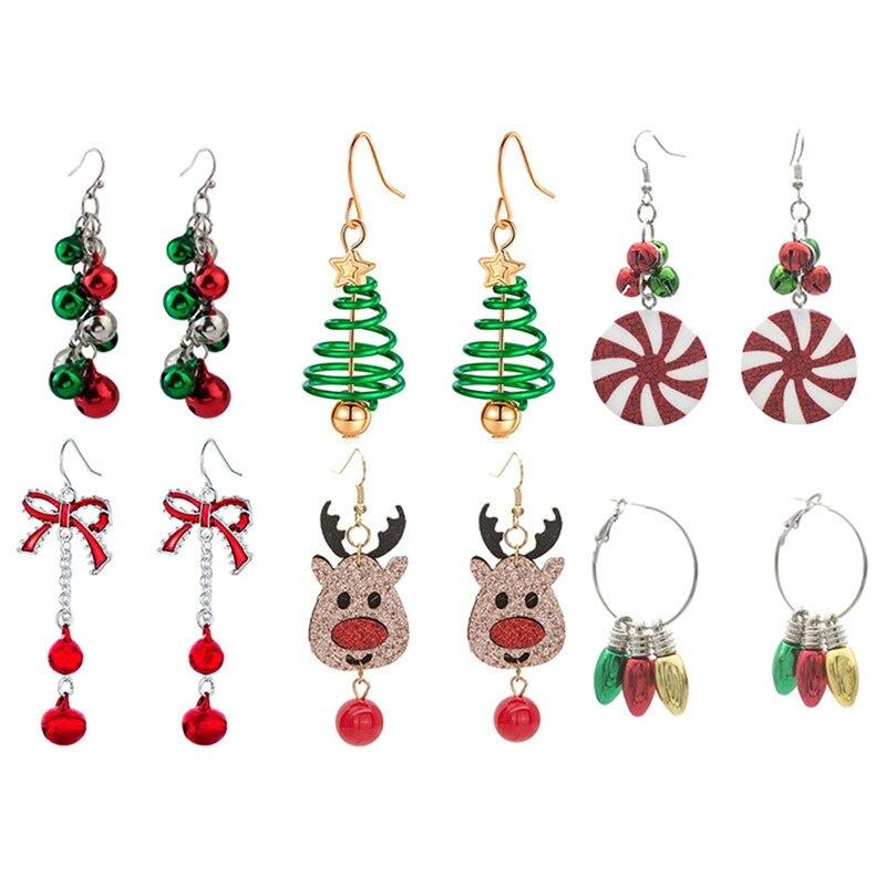 Серьги-гвоздики в виде рождественских колокольчиков, дерева, головы оленя, женские серьги квадратной формы из ткани, корейские серьги, рожд...