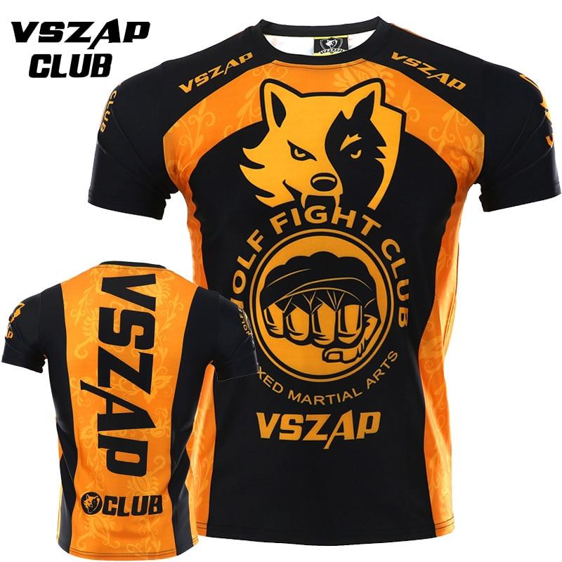 VSZAP Mma Rashguard Jiu Jitsu Fitness Kick Boxing T-shirt Muay Thai MMA Male Sports Sanda Fighting Martial Arts Wind Shirts