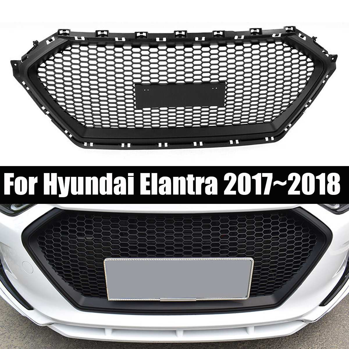 ABS Front Bumper Hood Grille Racing Grill Car Middle Grill Cover for Hyundai Elantra 2017 2018 Car Styling Exterior Parts