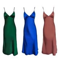 Женское атласное платье с глубоким V-образным вырезом, однотонная прямая Пижама Вечерние вечернее платье, элегантное женское летнее Повседневное платье на бретелях-спагетти, 2021 6
