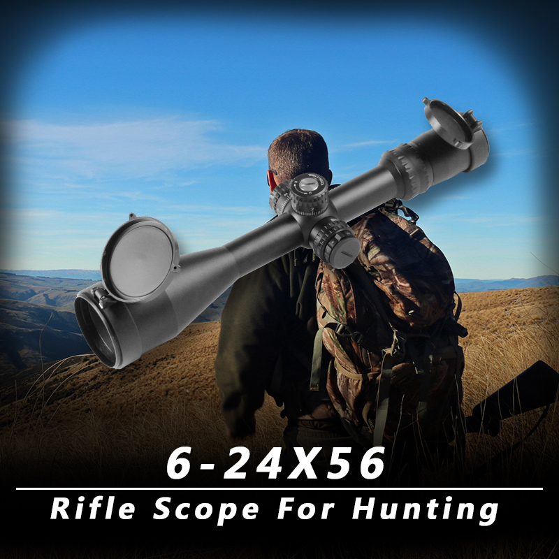 6-24x56 riflescope with red green laser mil-dot reticle m16 rifle scope with integral ar-15 handle matte image