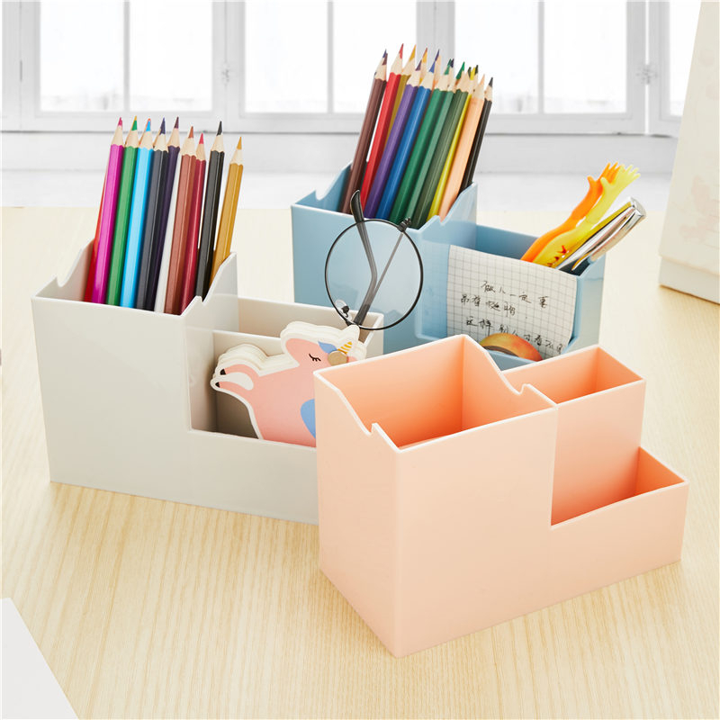 Creative Multifunctional Pen Holder Kawaii Colorful Plastic Desk Storage Box Decoration Office School Stationary Supplies 01212
