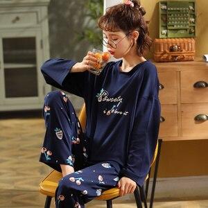 Image 3 - Newest Autumn Winter 100%Cotton Cartoon Womens Long Sleeve Pajamas Set Round Neck Loose Soft Plus Size M 5XL Female Pyjamas
