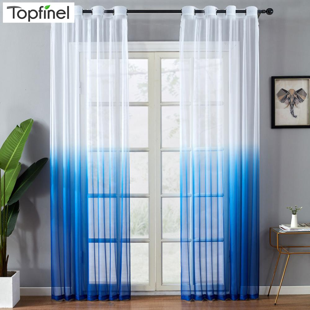 Topfinel Gradient Printed Tulle Transparent Curtains Living Room Bedroom Kitchen Home sheer curtains Decor at Window