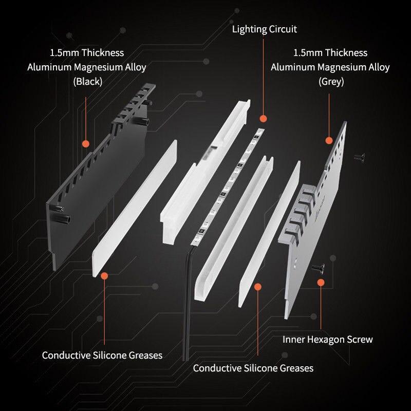 Cooling Cooler Spreader Heat Sinks Heatsink Accessories 2Pcs LED RGB PC Set Kit Computer RAM