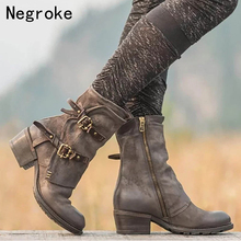 Punk Style Cross Buckle PU Leather Ankle Boots For Women Motorcycle Boots Chunky Heels Casual Shoes Round Toe Short Female Boot wetkiss genuine leather boots women round toe boot short plush chunky heels warm female shoes zip motorcycle casual footwear
