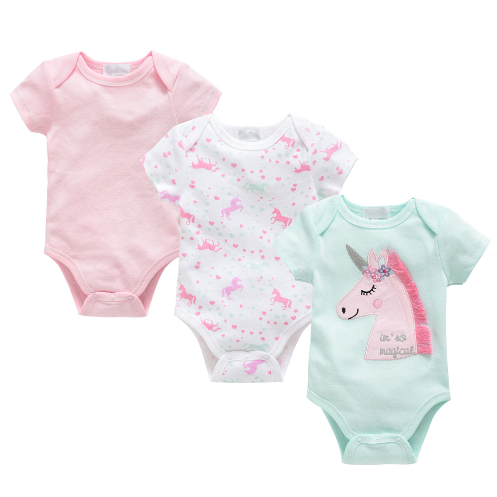 2020 Unicorn Newborn Baby Boys Girls Bodysuit Short Sleeve Fashion 3pcs Summer Baby Girls Clothes Cotton Pink Princess Pajamas