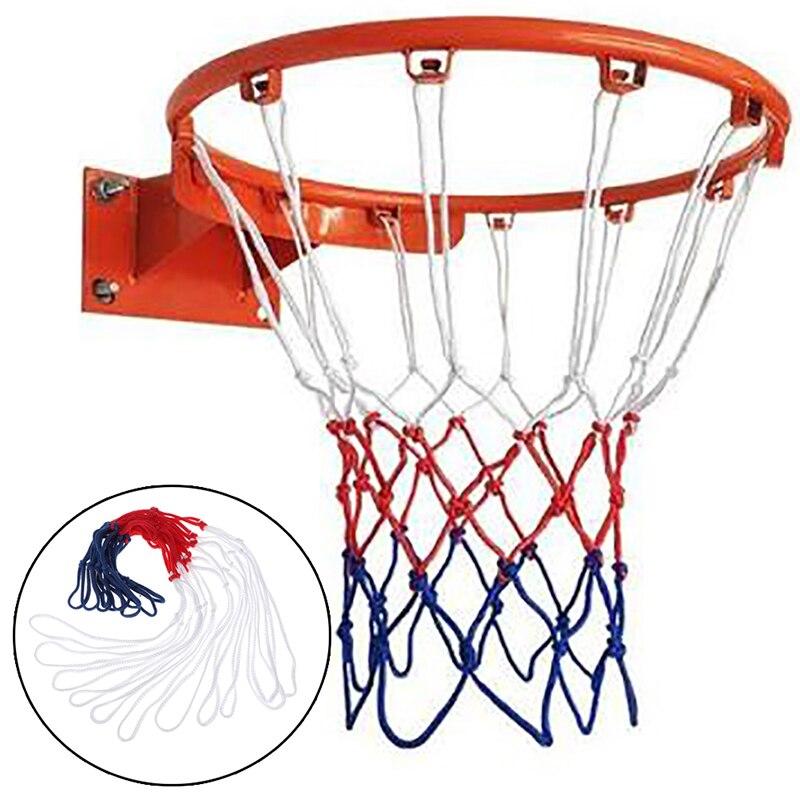 Стандартная баскетбольная сетка, прочная нейлоновая толстая нить, трехцветная универсальная сетка для баскетбола, Замена Сетки
