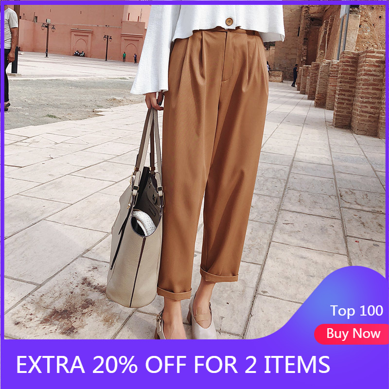 2019 MISHOW Autumn New Women Office Style Pants Fashion Causal High Waist Streetwear Loose Khaki Nineths Pants MX18C2534