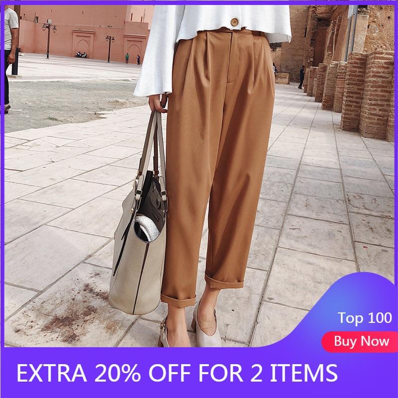2019 MISHOW Autumn New Women Office Style Pants Fashion Causal High Waist Streetwear Loose Khaki Nineths Pants MX18C2534