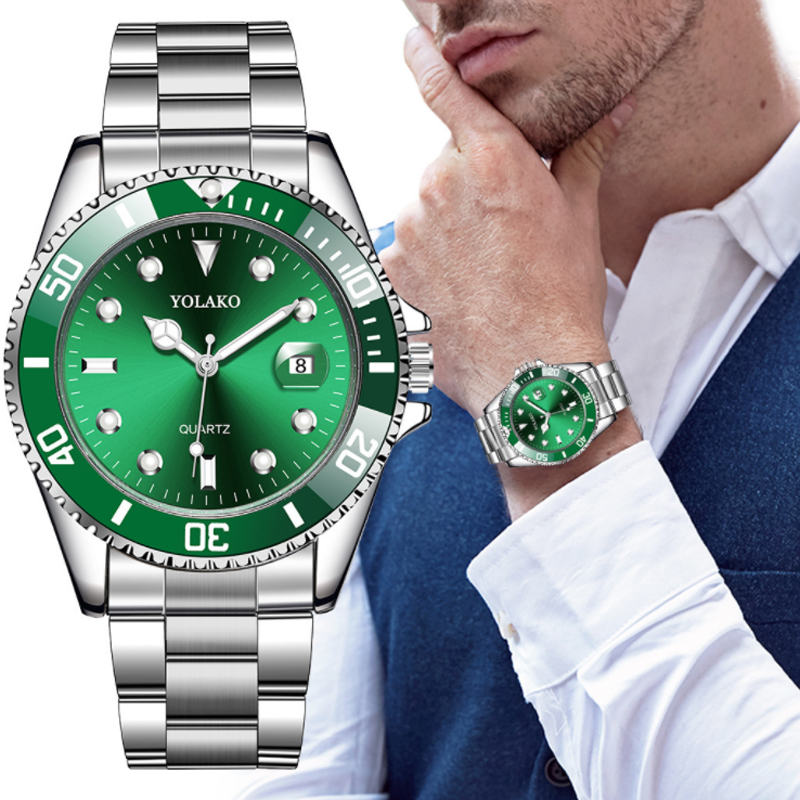 Men's Watch New Luxury Business Watch Men Waterproof Date Green Dial Watches Fashion Male Clock Wrist Watch Relogio Masculino