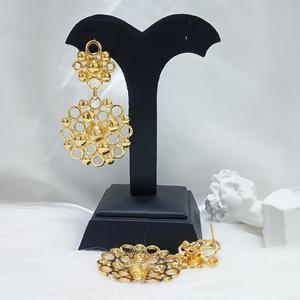 Image 3 - المرأة الأفريقية النحاس إسقاط أقراط مطلية بالذهب أقراط الزفاف العروس أقراط مجوهرات هدية