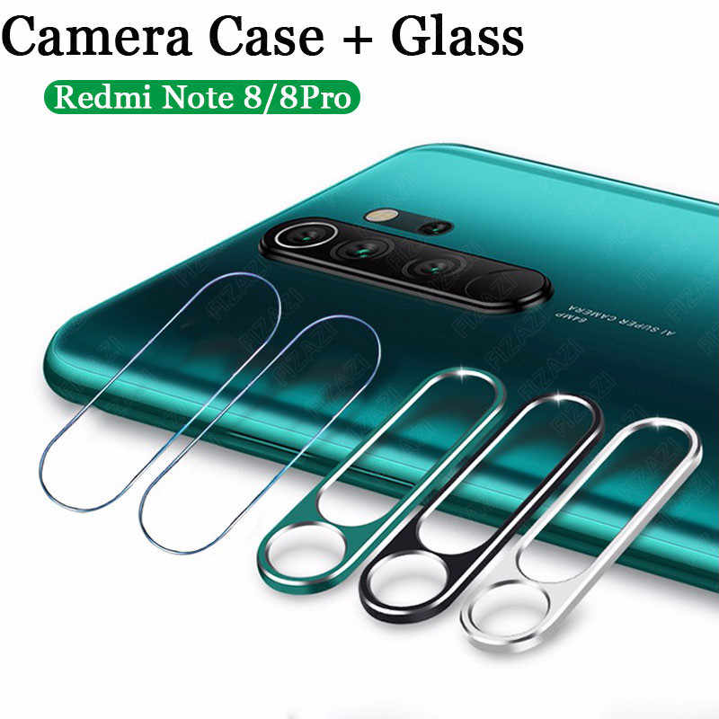 For Redmi Note 8 Pro Metal Ring Case + Tempered Glass Full Cover Protective Metal Ring Camera Lens Case Film Screen Protector