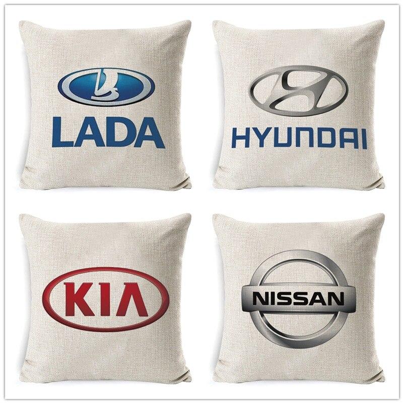 Fokusent Car Sign Logos Pattern Cushion Cover 45x45cm 18 Inch Decors Back Lumbar Pillow Case Creative Car Brand Cushion Cover
