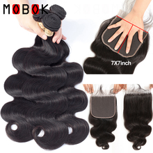 Mobok 7x7 Lace Closure With Bundles Remy Human Hair Brazilian Body Wave hair Baby
